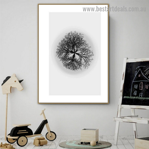 Tree Structure Botanical Scandinavian Framed Portrait Painting Canvas Print for Room Wall Flourish