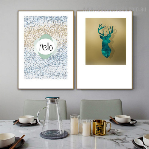 Glittering Hello Typography Abstract Animal Scandinavian Framed Artwork Picture Canvas Print for Room Wall Decoration