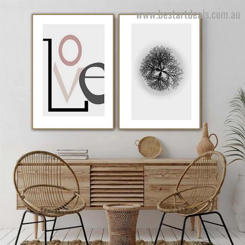 Love Typography Botanical Scandinavian Framed Portrait Image Canvas Print for Room Wall Garnish