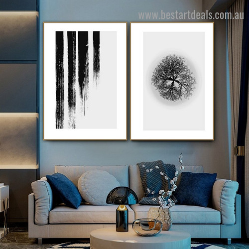 Leafless Tree Botanical Abstract Scandinavian Framed Artwork Photo Canvas Print for Room Wall Ornament