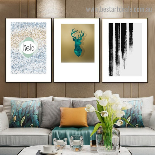 Abstract Deer Head Typography Animal Scandinavian Framed Artwork Image Canvas Print for Room Wall Ornament