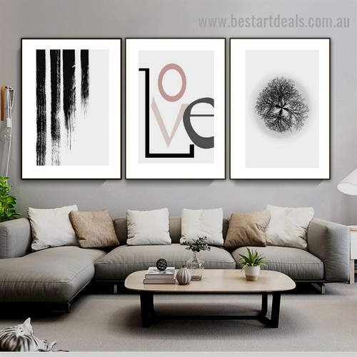 Brush Marks Abstract Typography Botanical Scandinavian Framed Portrait Photo Canvas Print for Room Wall Decoration