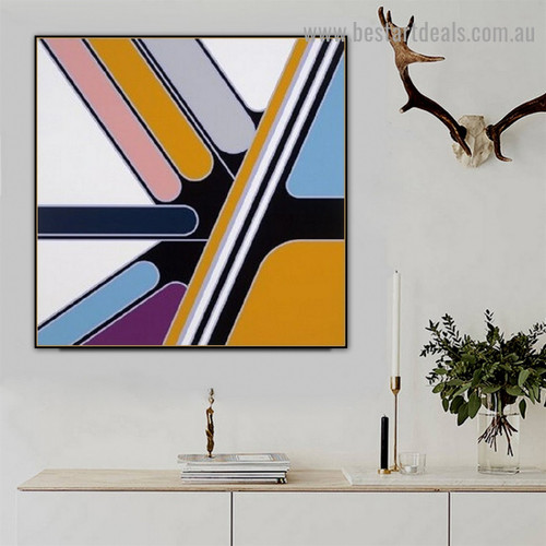 Thwart Colorful Lines Abstract Modern Framed Portrait Picture Canvas Print for Room Wall Garniture