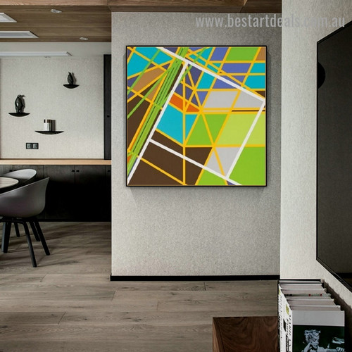 Colorific Zigzag Streaks Abstract Modern Framed Artwork Photo Canvas Print for Room Wall Decoration