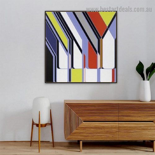 Colorful Concrete Design Abstract Modern Framed Artwork Photo Canvas Print for Room Wall Garnish