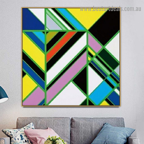 Irregular Multicolor Lines Abstract Modern Framed Portrait Picture Canvas Print for Room Wall Decoration