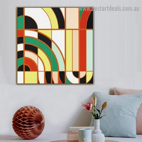 Curved Straight Design Abstract Modern Framed Artwork Photo Canvas Print for Room Wall Ornament