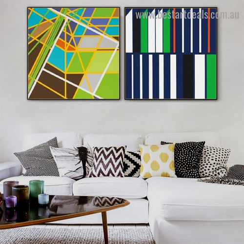 Colorful Cabriole Stripes Abstract Modern Framed Portrait Picture Canvas Print for Room Wall Decoration
