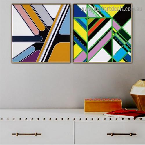 Multicolor Desultory Streak Abstract Modern Framed Artwork Image Canvas Print for Room Wall Flourish