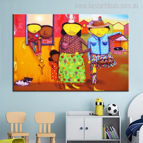 Rural Peoples Animated Abstract Figure Graffiti Painting Canvas Print for Kids Room Wall Decor