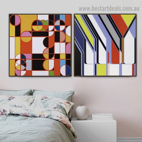 Multicolored Spheroidal Design Abstract Modern Framed Portrait Picture Canvas Print for Room Wall Adornment