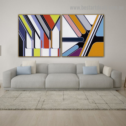 Colorful Concrete Pattern Abstract Modern Framed Artwork Photo Canvas Print for Room Wall Flourish
