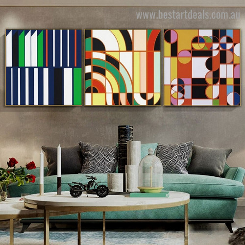 Cambered Perpendicular Design Abstract Modern Framed Portrait Image Canvas Print for Room Wall Adornment