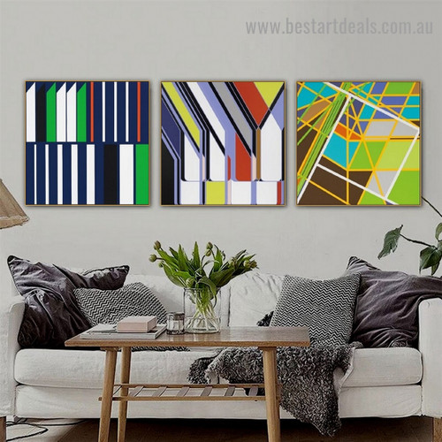 Multicolor Curvy Stripes Abstract Modern Framed Portrait Picture Canvas Print for Room Wall Decoration