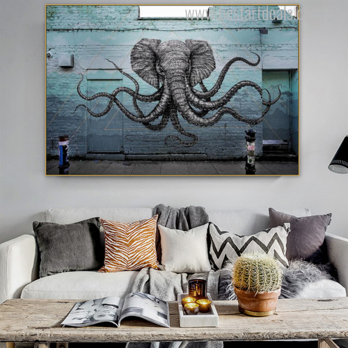 Octopus Arms Abstract Animal Graffiti Painting Canvas Print for Living Room Wall Tracery