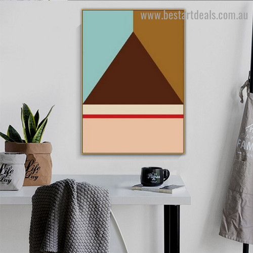 Brown Triangle Abstract Geometric Modern Framed Portrait Painting Canvas Print for Room Wall Adornment