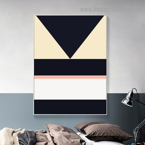 Reverse Triangle Abstract Geometric Modern Framed Portrait Photo Canvas Print for Room Wall Drape