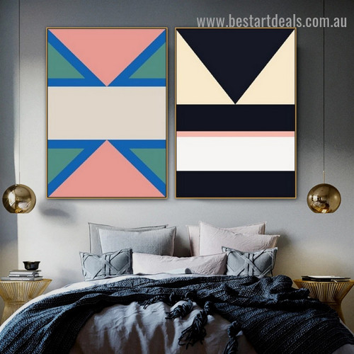 Gabled Pattern Abstract Geometric Modern Framed Portrait Image Canvas Print for Room Wall Garnish