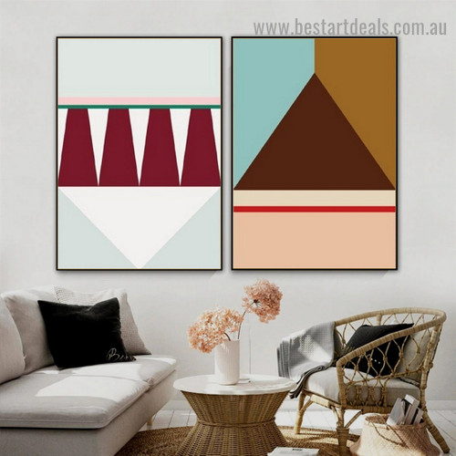 Multicolor Trigons Abstract Geometric Modern Framed Artwork Portrait Canvas Print for Room Wall Decoration