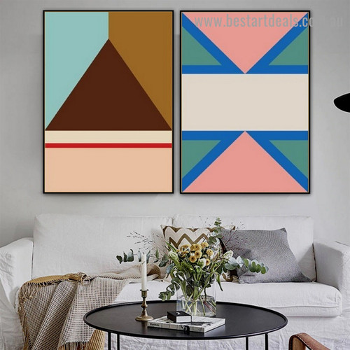 Brown Trigonal Abstract Geometric Modern Framed Portrait Picture Canvas Print for Room Wall Garniture