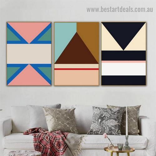 Stern Trigone Abstract Geometric Modern Framed Artwork Image Canvas Print for Room Wall Drape