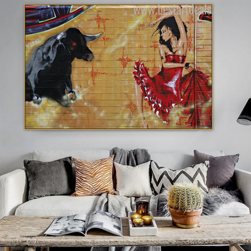 Bull Graffiti Animated Animal Figure Painting Portrait Print for Living Room Wall Flourish