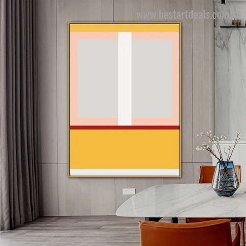 Yellow Rectangle Abstract Geometric Modern Framed Portrait Picture Canvas Print for Room Wall Decoration