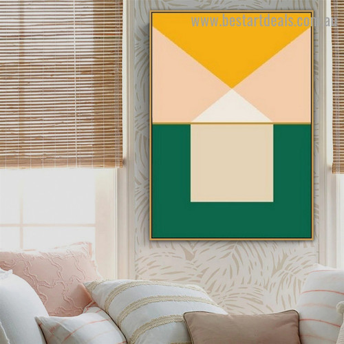 Colorful Geometric Art Abstract Modern Framed Artwork Image Canvas Print for Room Wall Decor