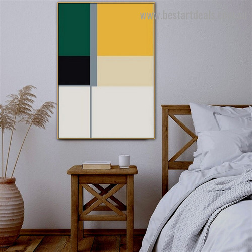 Square Rectangular Design Abstract Geometric Modern Framed Portrait Painting Canvas Print for Room Wall Flourish