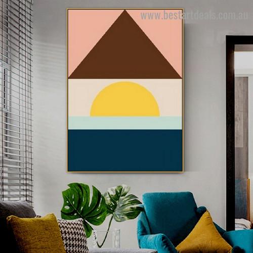 Rectangular Triangular Design Abstract Geometric Modern Framed Portrait Picture Canvas Print for Room Wall Flourish
