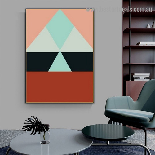 Multicolored Triangles Abstract Geometric Modern Framed Artwork Image Canvas Print for Room Wall Decor