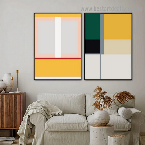 Square Quadrate Design Abstract Geometric Modern Framed Portrait Artwork Canvas Print for Room Wall Adornment