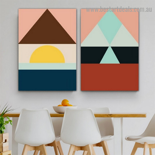Colorful Trigone Abstract Geometric Modern Framed Artwork Photo Canvas Print for Room Wall Garnish