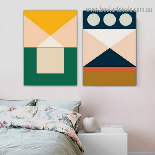 Colored Geometric Art Abstract Modern Framed Artwork Photo Canvas Print for Room Wall Flourish