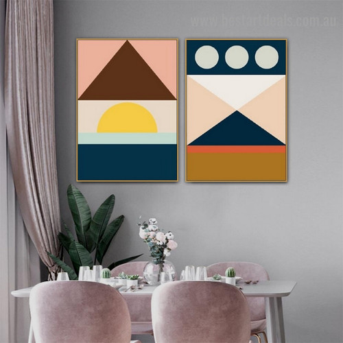 Quadrate Trigonic Pattern Abstract Geometric Modern Framed Portrait Picture Canvas Print for Room Wall Adornment