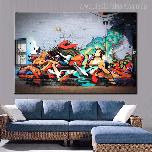 Smoke Animated Abstract Graffiti Painting Image Print for Lounge Room Wall Decor