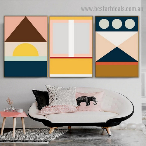 Multicolor Rectangle Geometric Abstract Modern Framed Artwork Image Canvas Print for Room Wall Decoration