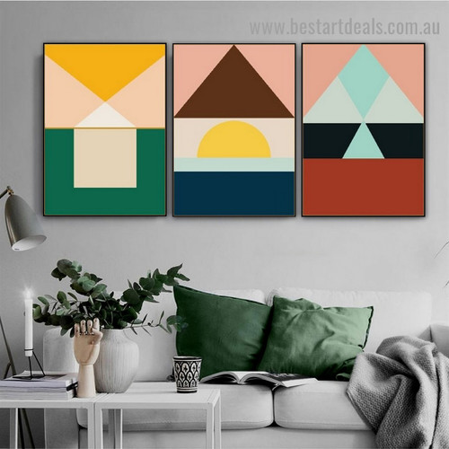 Motley Trigon Art Geometric Abstract Modern Framed Artwork Portrait Canvas Print for Room Wall Flourish