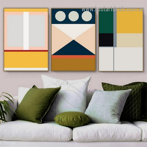 Varicolored Geometric Pattern Abstract Modern Framed Portrait Painting Canvas Print for Room Wall Decoration