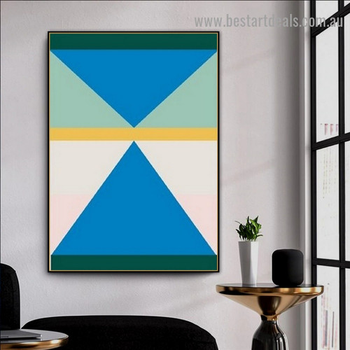 Blue Triangles Abstract Geometric Modern Framed Artwork Photo Canvas Print for Room Wall Drape
