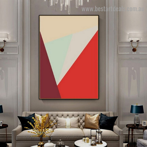 Zigzag Triangular Design Abstract Geometric Modern Framed Portrait Picture Canvas Print for Room Wall Decoration
