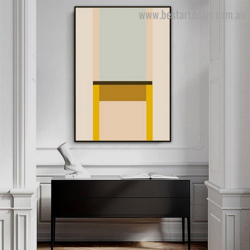 Colorific Bold Streaks Abstract Geometric Modern Framed Portrait Painting Canvas Print for Room Wall Ornament