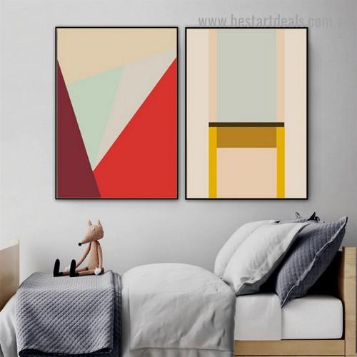 Dapple Bold Stripe Abstract Geometric Modern Framed Artwork Image Canvas Print for Room Wall Flourish