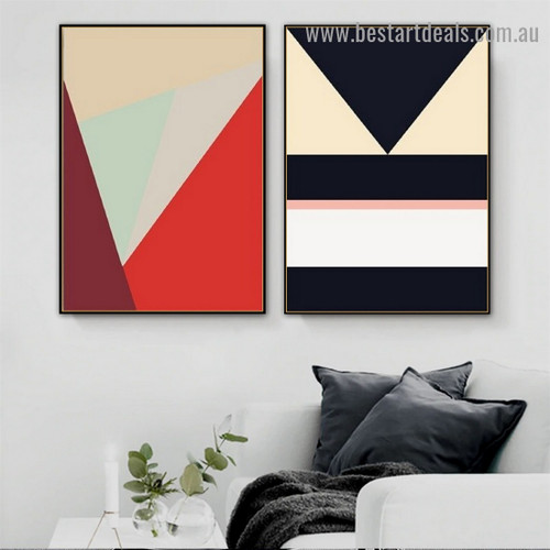 Cambered Trigonic Pattern Abstract Geometric Modern Framed Portrait Image Canvas Print for Room Wall Adornment
