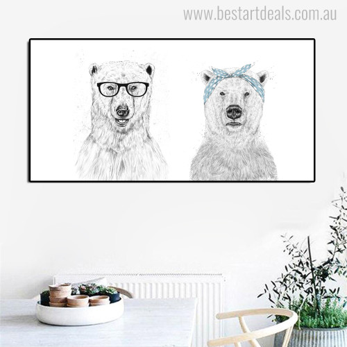 Couple Bears Modern Animal Painting Canvas Print for Room Wall Finery