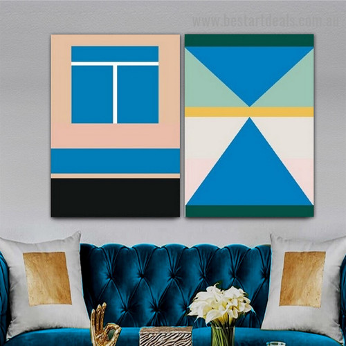 Blue Deltoid Art Abstract Geometric Modern Framed Artwork Image Canvas Print for Room Wall Decor
