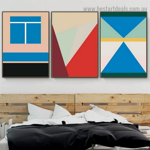 Blue Boxes Abstract Geometric Modern Framed Portrait Photo Canvas Print for Room Wall Decoration