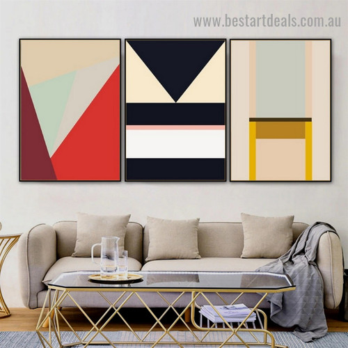 Reverse Triangle Abstract Geometric Modern Framed Artwork Picture Canvas Print for Room Wall Garnish