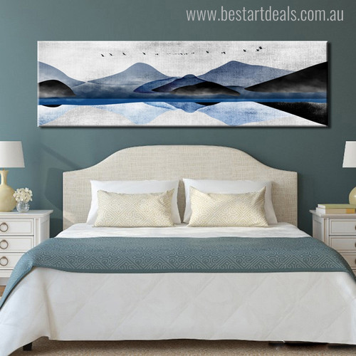 Hills Abstract Landscapes Panoramic Modern Painting Canvas Print for Bedroom Wall Disposition