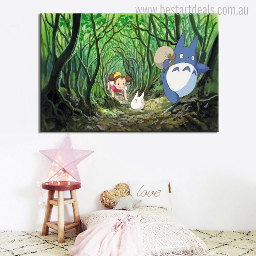 Totoro Cartoon Modern Painting Picture Canvas Print for Nursery Room Wall Outfit